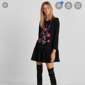 Express Floral Embroidered Shift Dress